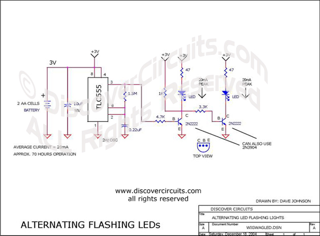 Hobby Circuit - Wig/wag LED Flasher __ Circuit s designed by David A.  Johnson, P.E.Onlinehome.us